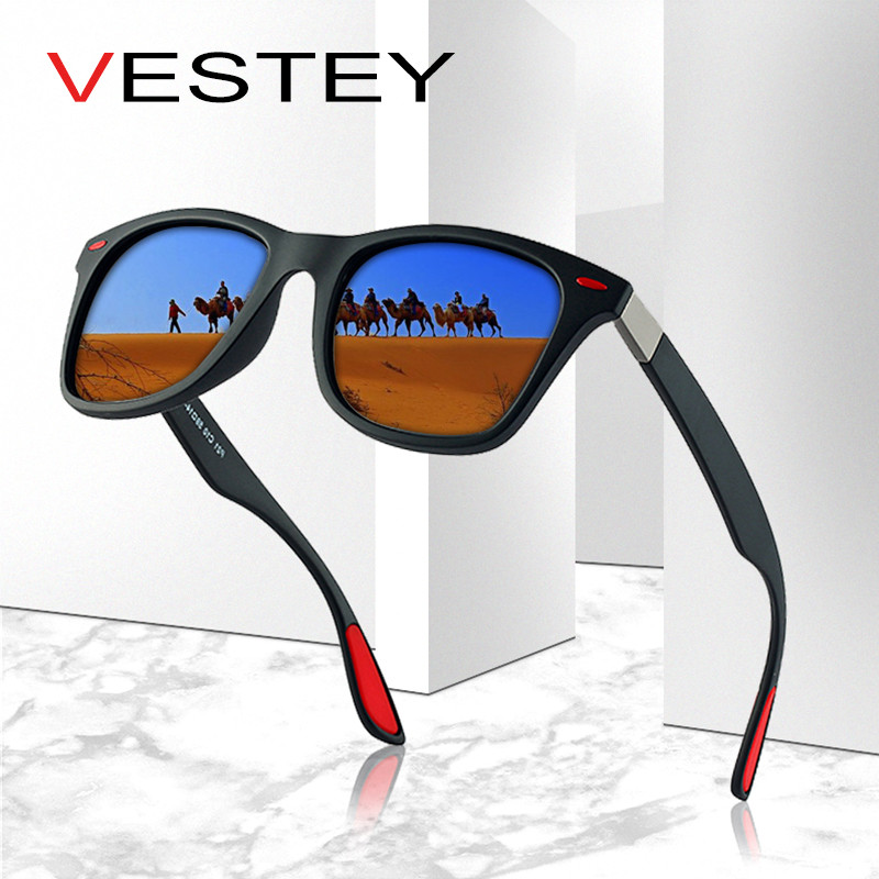 VESTEY Brand Design Polarized Solglasögon Män Kvinnor 2019 Luxury Brand Classic Men Square Frame Solglasögon Glasögon UV400 Gafas De