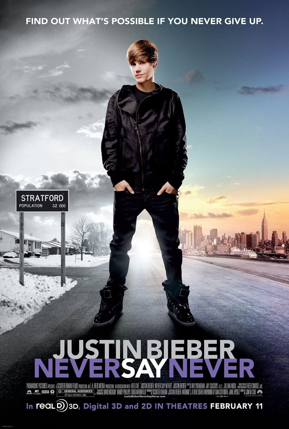 N0719 Never Say Never movie Justin Bieber Wall Sticker Silk Fabric Poster Art Indoor Decor Bright image