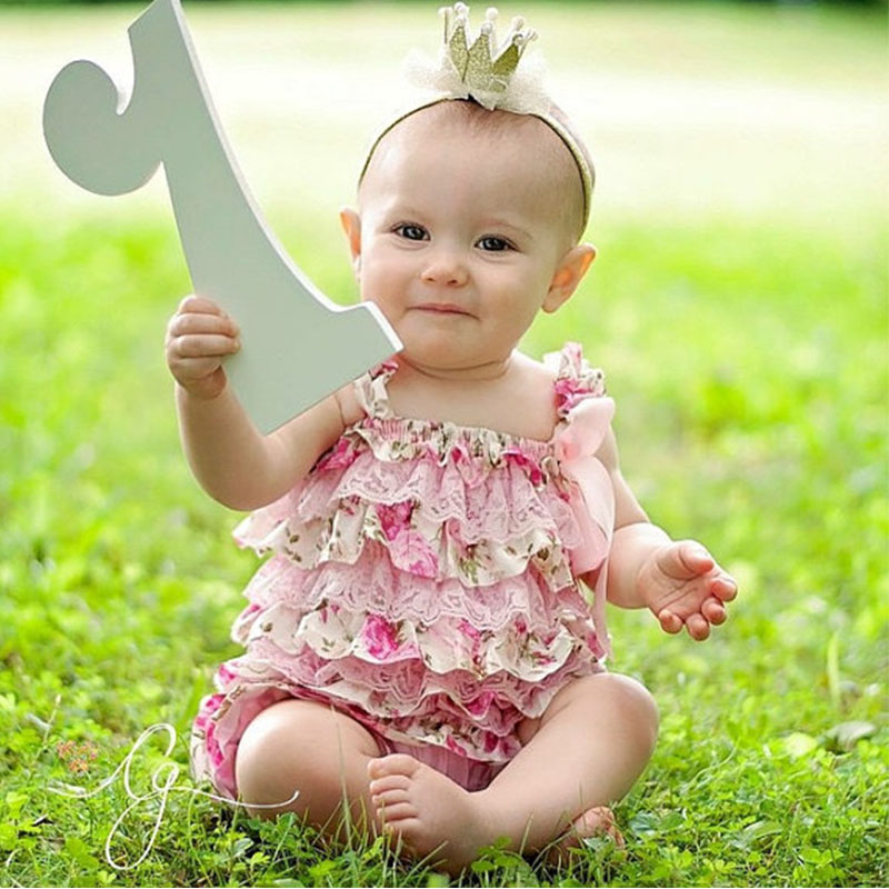 Baby Girls Rompers Pink Floral Petti Ruffle Lace Romper 1st Birthday Cake Smash Outfit Toddler Infant Jumpsuit
