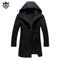Autumn Winter British style men's wool coat New design Zipper Long trench coat Brand Clothing Top quality hooded woolen coat men