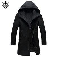 Sonbahar Kış İngiliz stil erkek yün ceket Yeni tasarım Fermuar uzun trençkot Marka Giyim Üst kalite kapşonlu yün coat erkekler