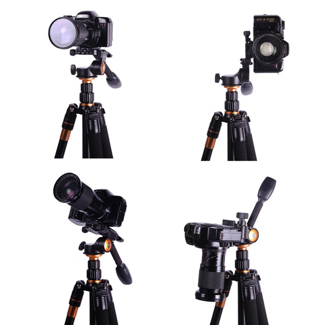QZSD Q08 3-Way Fluid Head Rocker Arm Video Tripod Ball Head+ Quick Release Plate for DSLR Camera Tripod Monopod