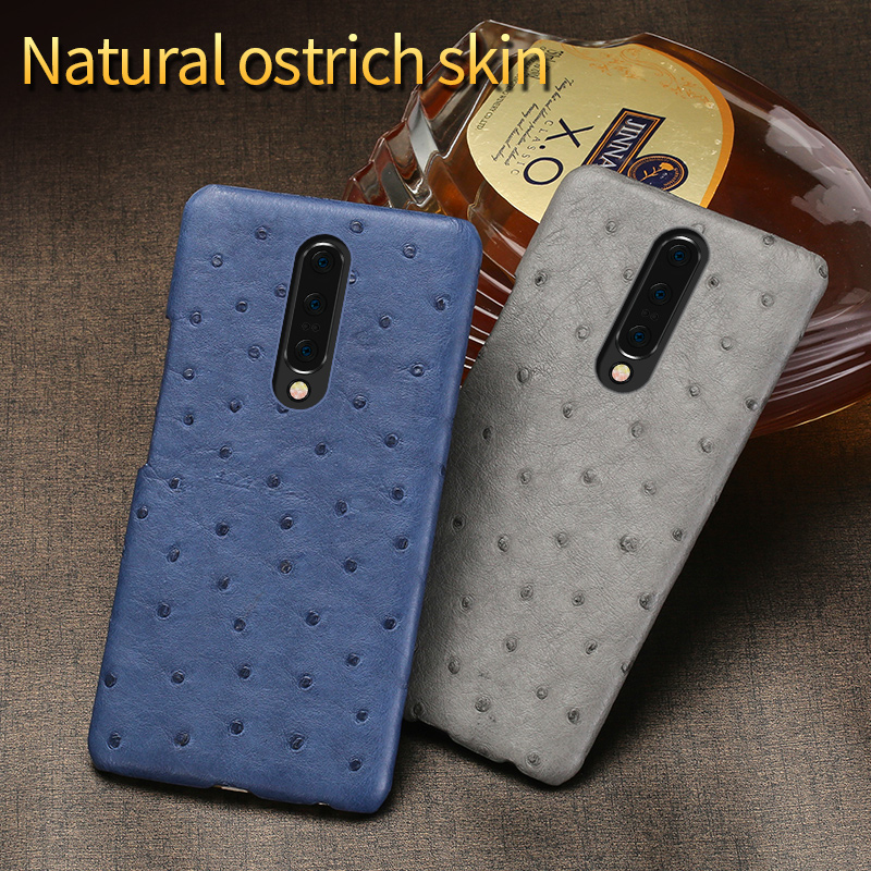 Leather Case For Oneplus 7 Cases Real Ostrich Shell case  For 6 6T 5 5T 3 3T Shockproof Phone cover Luxury Smartphone funda