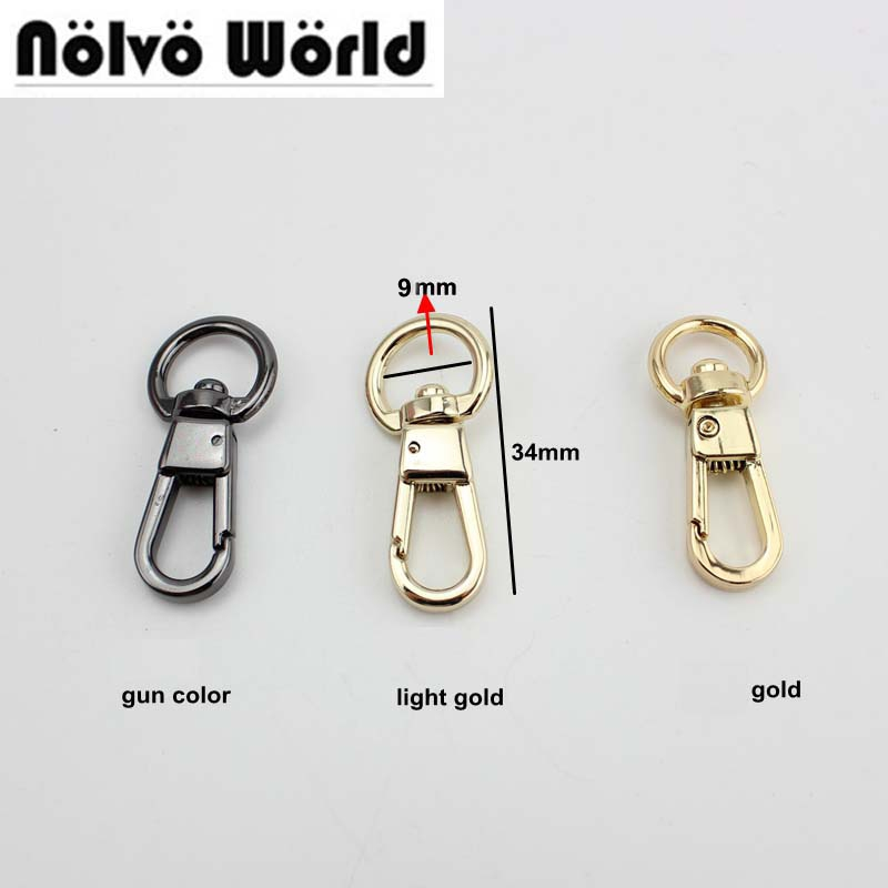 50pcs 9mm top ending gold silver tone trigger snap hook clasp metal clip swivel dog leash hardware 4colors owner 52567 18 hooked snap swivel 9 шт
