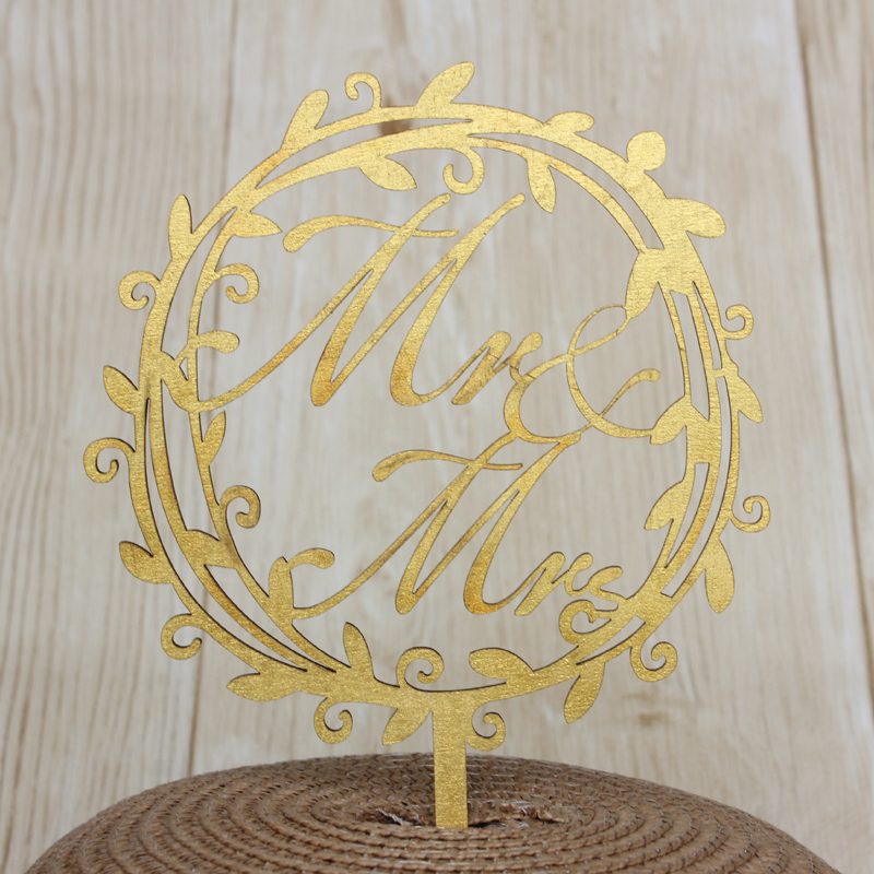 Country Wedding Rustic Wooden Cake Topper Garland Mr & Mrs Cake Decoration Gold Painted Wood Wedding Cake Topper for Lovers