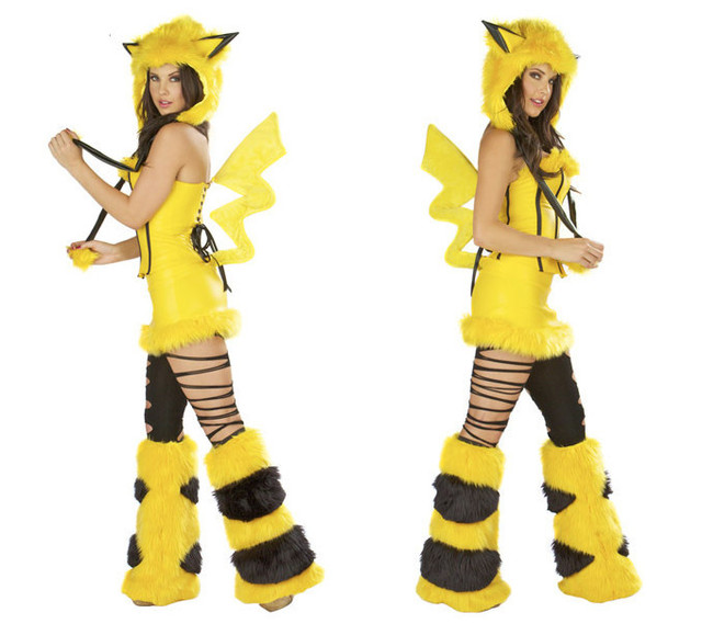 ac5979106eb9 New Arrival Sexy Footed Pajamas Pokemon Adult Furry Pikachu With Tail  Costume for Women Halloween Fur Animal Costume Cosplay