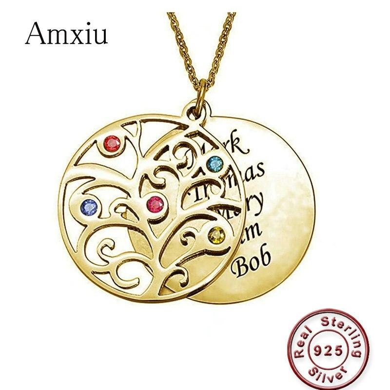 Amxiu personnalisé 925 collier en argent personnalisé équipe nom de famille arbre pendentif graver 1-5 noms rond pendentif collier pour les femmes