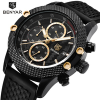 BENYAR Luxury Brand Mens Watches Reloj Hombre Sport Chronograph Fashion Waterproof Quartz Watch Clock Men Relogio