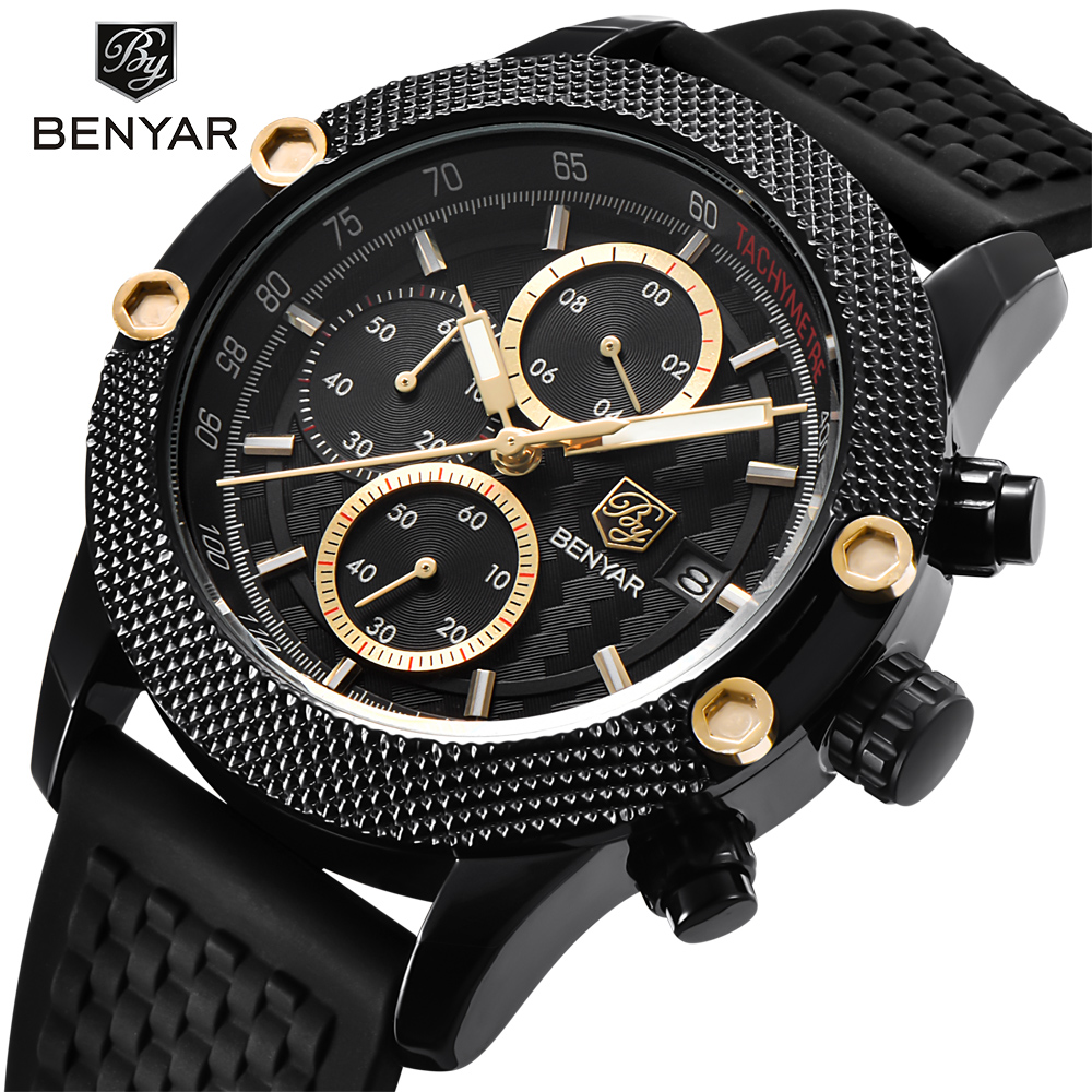 BENYAR Luxury Brand Mens Watches Reloj Hombre Sport Chronograph Fashion Waterproof Quartz Watch Clock Men Relogio Masculino casima luxury brand sport quartz watches men reloj hombre fashion silicone band100m waterproof men watch montre homme clock
