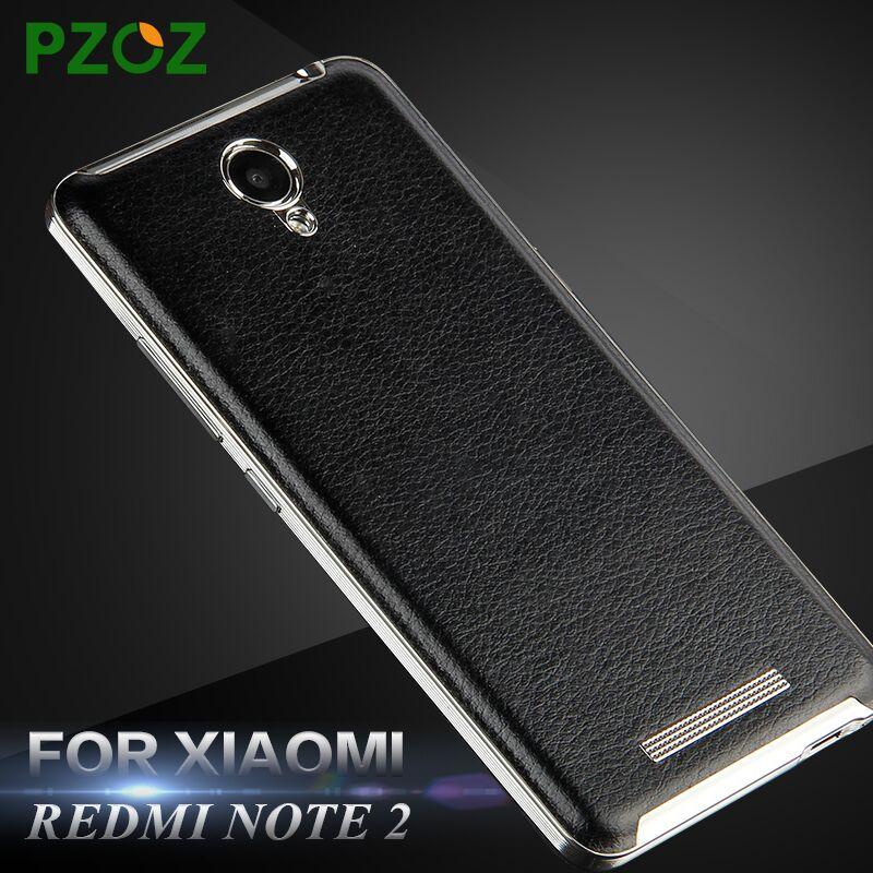 pzoz xiaomi redmi note 2 case leather battery back cover
