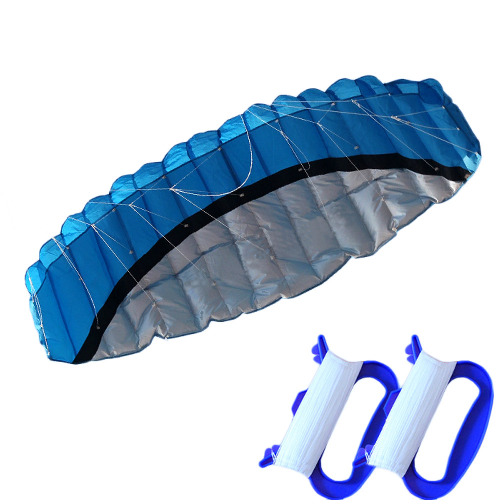 Huge 2.5m Outdoor Dream Blue Dual Line Holiday Toys Dual Line Parachute Stunt Sport Beach Kite dropship CC# 16 colors x vented outdoor playing quad line stunt kite 4 lines beach flying sport kite with 25m line 2pcs handles