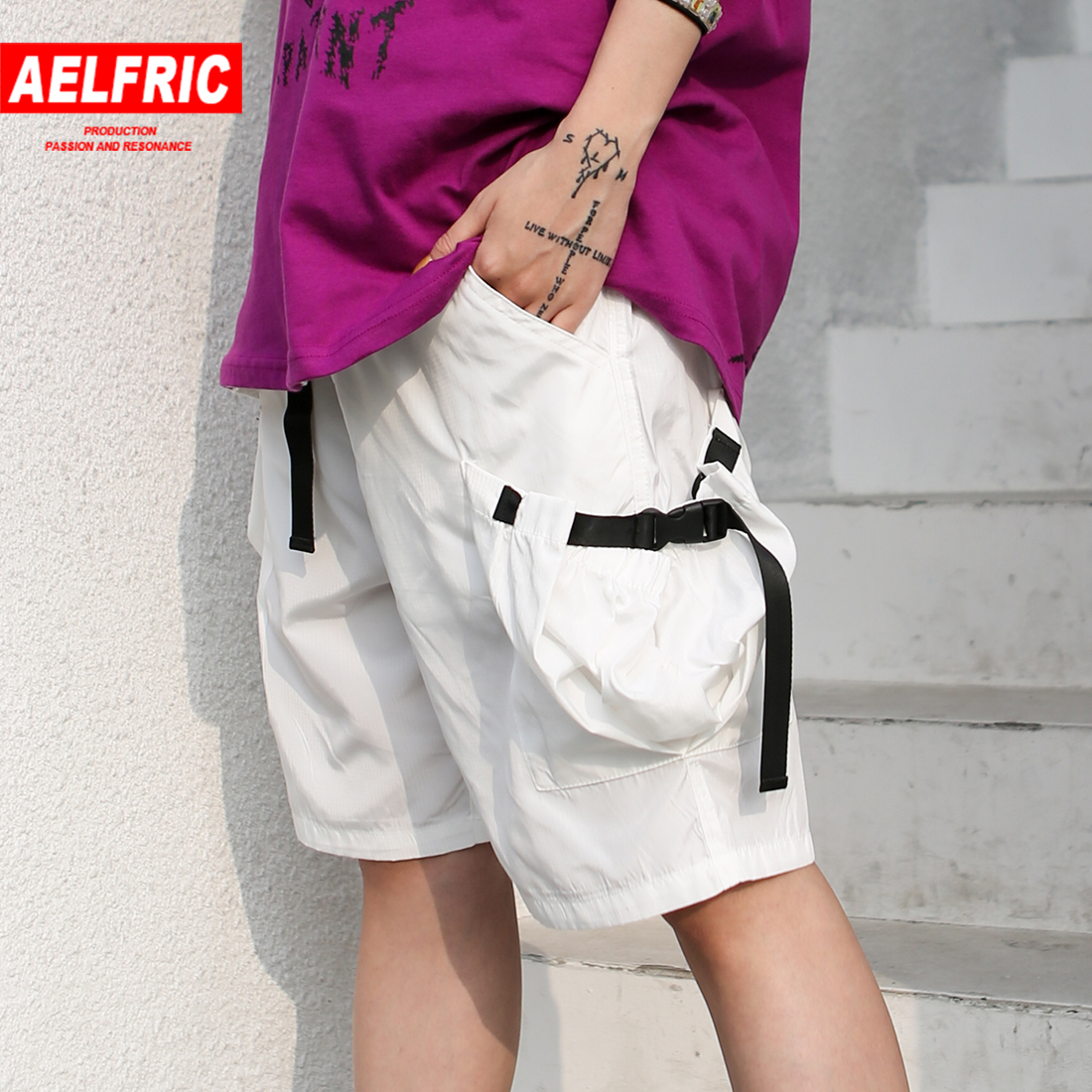 Aelfric 2019 Summer Women Zipper Loose Shorts Female Casual Solid Color Personality Pocket Ribbons Patch Short Pants Streetwear Good Reputation Over The World