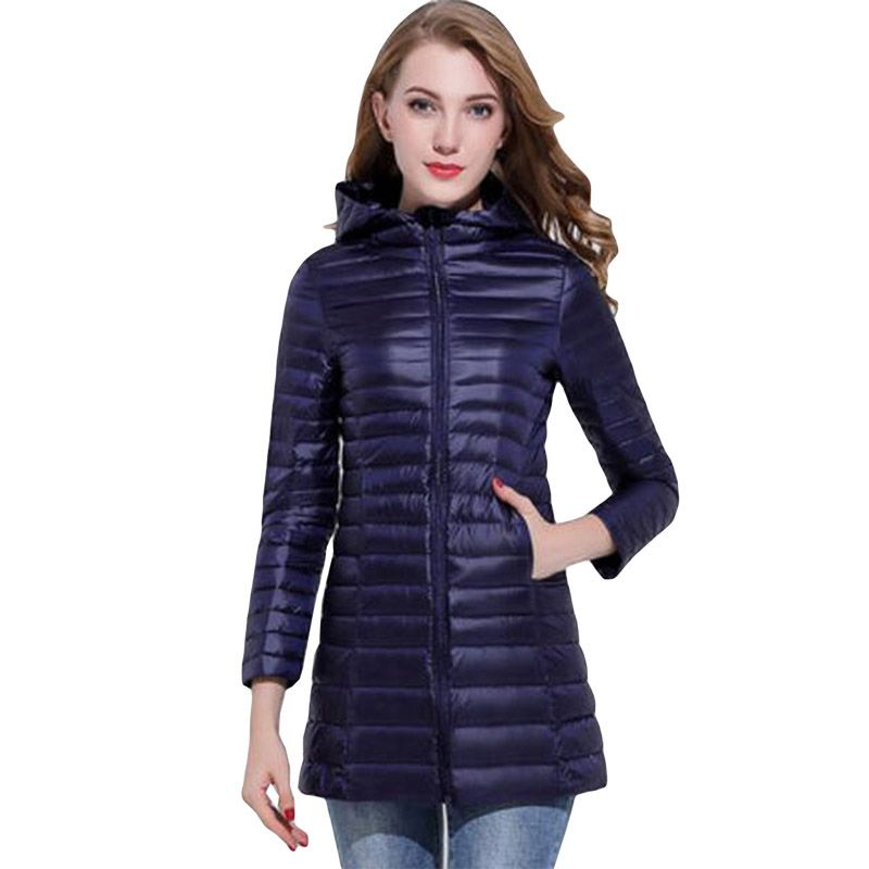 2018 New Autumn winter Ultra Light thin hooded   down   jackets 90% white duck   down     coat   women long slim jacket outerwear ZG008