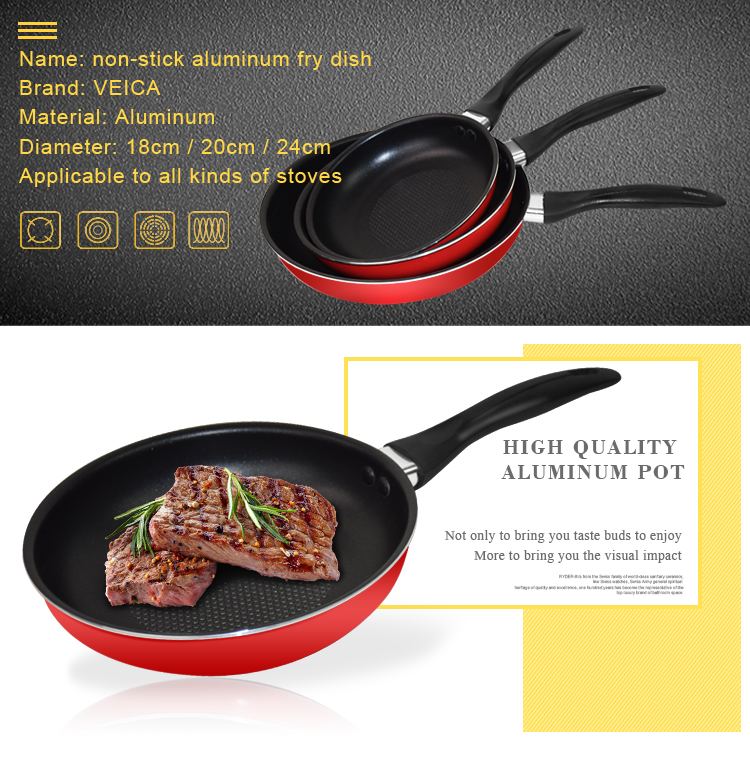 3pcs/set Aluminum Alloy non-stick cookware Frying pan saucepan Small Fried Eggs Pot Gas Induction Cooker