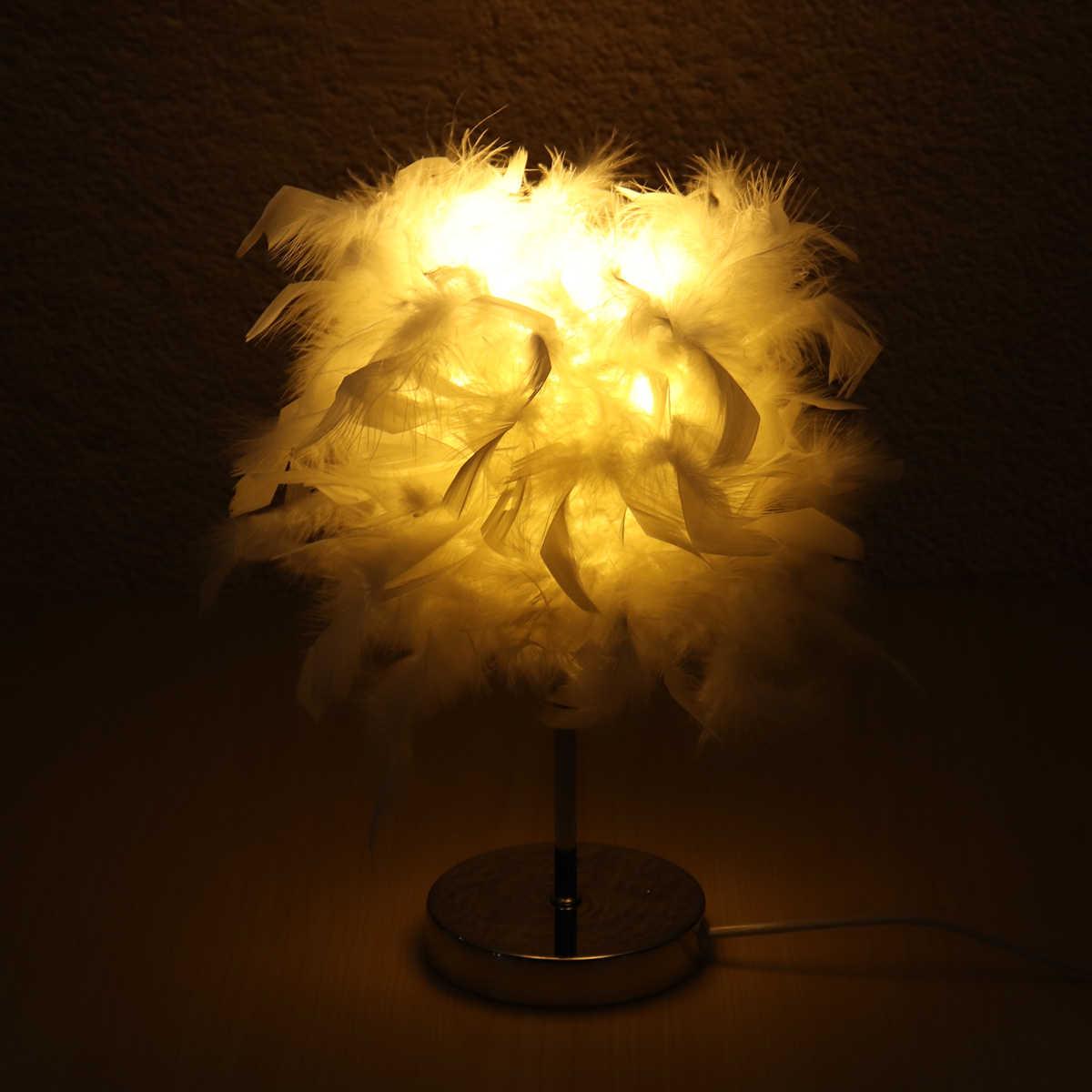 220V Christmas Decor Night Light Soft Vintage Feather Shade Metal Table Lamp Bedside Desk Vintage Bedroom Study Room White