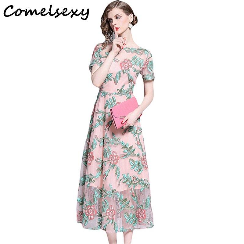 uk availability 65433 9e8e4 Comelsexy Donne di Estate Floreale Vestito Lungo Elegante Della Maglia Del  Ricamo Rosa Altalena Di Lusso di Modo Manica Corta Maxi Dress Abiti