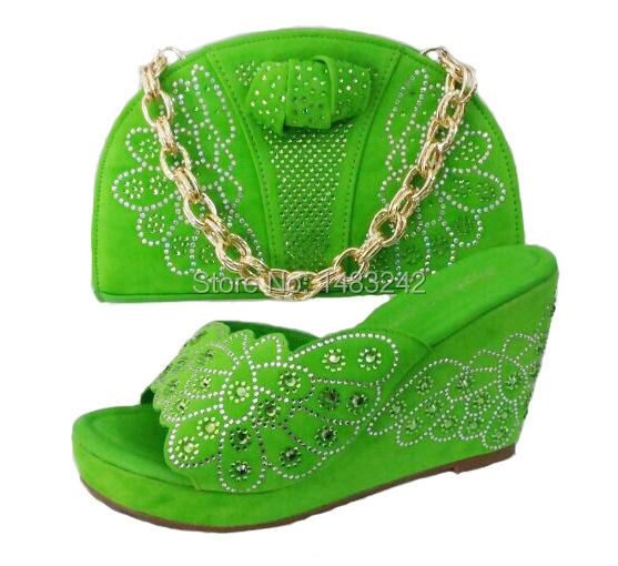 ФОТО 2015 hot!!  Africa's shoes and handbags with code number A11-GREEN 38-42 red the latest products sell like hot cakes