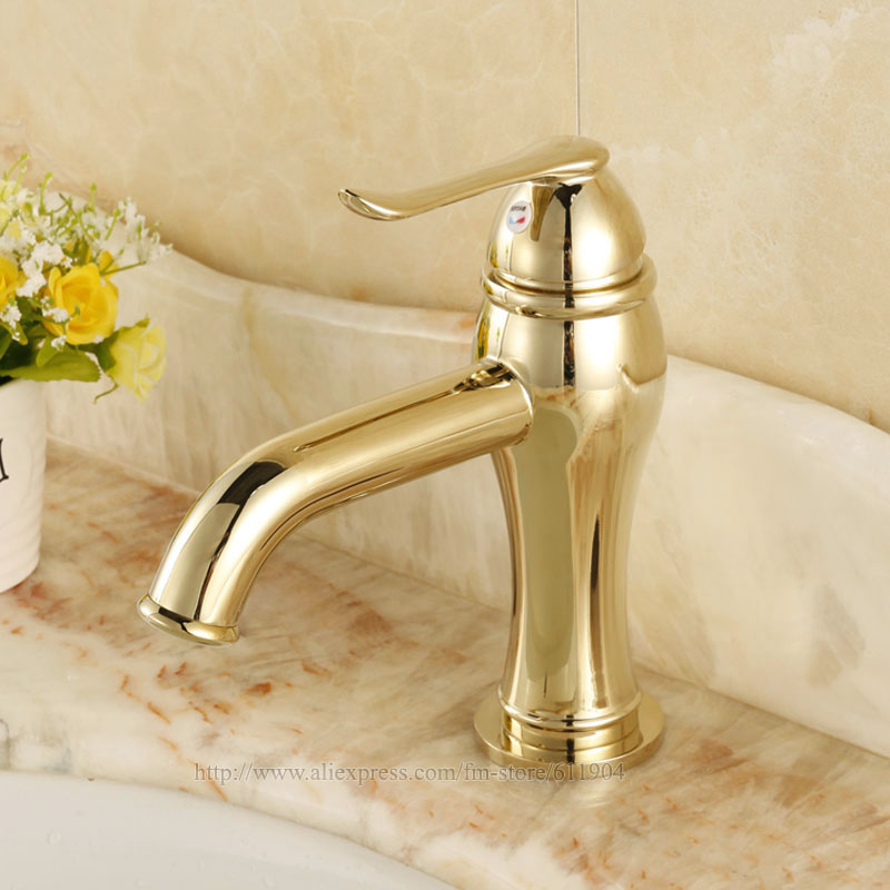 free shipping gold color bathroom faucet lavatory sink 14053