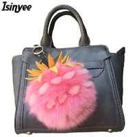 ISINYEE 2017 Pineapple Strawberry Fruit Key Chain Faux Fox Fur Pom Poms Keychain Women Bag Pompom