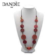 Dandie New Fashion Handmade Necklace For Women With Red Shell And Flowers Decoration