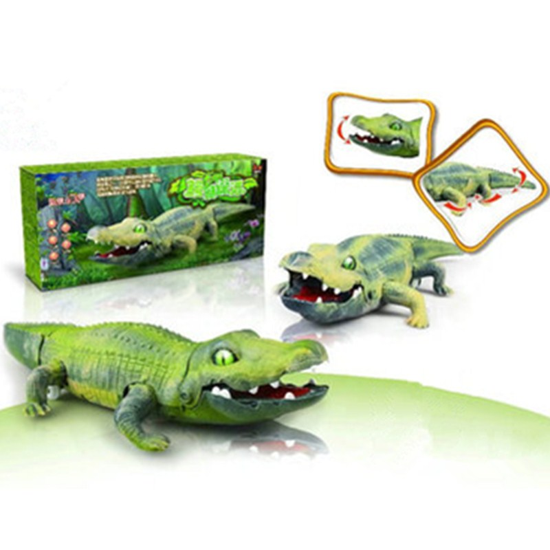 Funny Novelty toys Electric Remote Control Crocodile Gags Phonate With LED Light Simulation Animals Model Creative Toy L1100