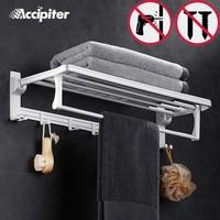 Nail Free Wall Mounted Bathroom Accessories Dual Tier With Towel Bar Bathroom Hooks Shelves Bathroom Holder With Towel Hooks
