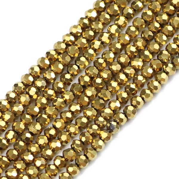 JHNBY, футбольные граненые Австрийские кристаллы, 200 шт, 3 мм, цветные круглые бусины, ювелирные изделия, браслет, аксессуары, сделай сам - Цвет: QZ3107 Gold