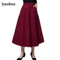 New Style Good Quality Winter Skirt 2016 Autumn Fashion Women S Long Woolen Skirts Big Buttom