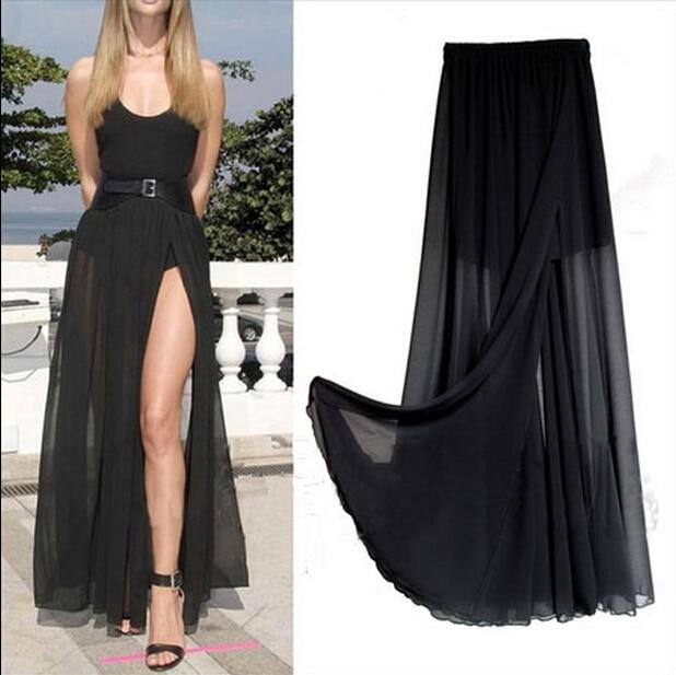 2020 New Fashion Women Long Skirts Lady Open Side Split Skirt Long Maxi Skirt Navy Blue/Black/Red/PINK Plus Size Vestidos M-3XL