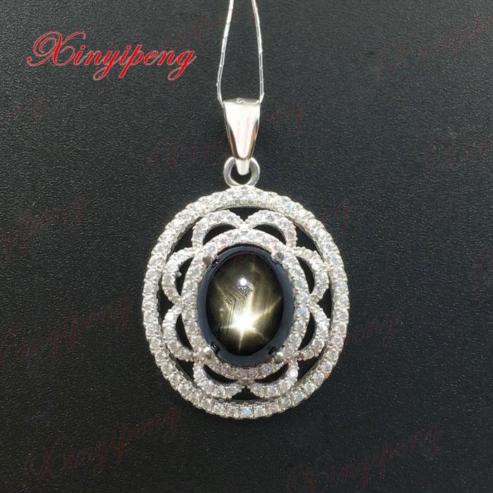 tan jewelry Women 925 Sterling silver 100% natural Starlight sapphire pendant gift цены