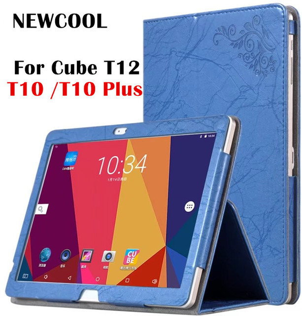 NEWCOOL For Cube T12 Flower Print Leather Case Smart Cover Flip Cover For Cube Free Young X7/ t10 Plus Tablet Case shell