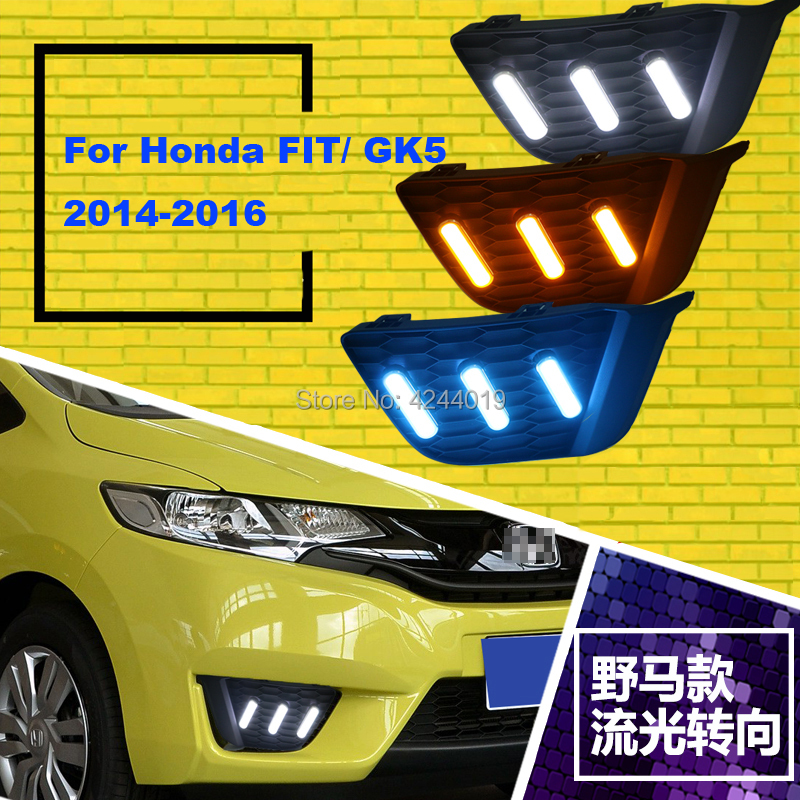 Fits 2012-2016 Honda Fit Day Light Fog Lights Fog Lamps LED Driving Light DRL Daytime Running Lights Yellow Turn Signal led front fog lights for honda cr v pilot 2012 2013 2014 car styling round bumper drl daytime running driving fog lamps