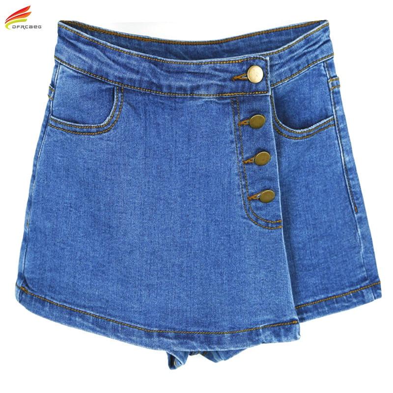 High Waisted Denim Shorts For Women 2018 Summer Skorts Skirts Slim Blue Short Jeans Vintage Short Skort Ladies High Quality Sale