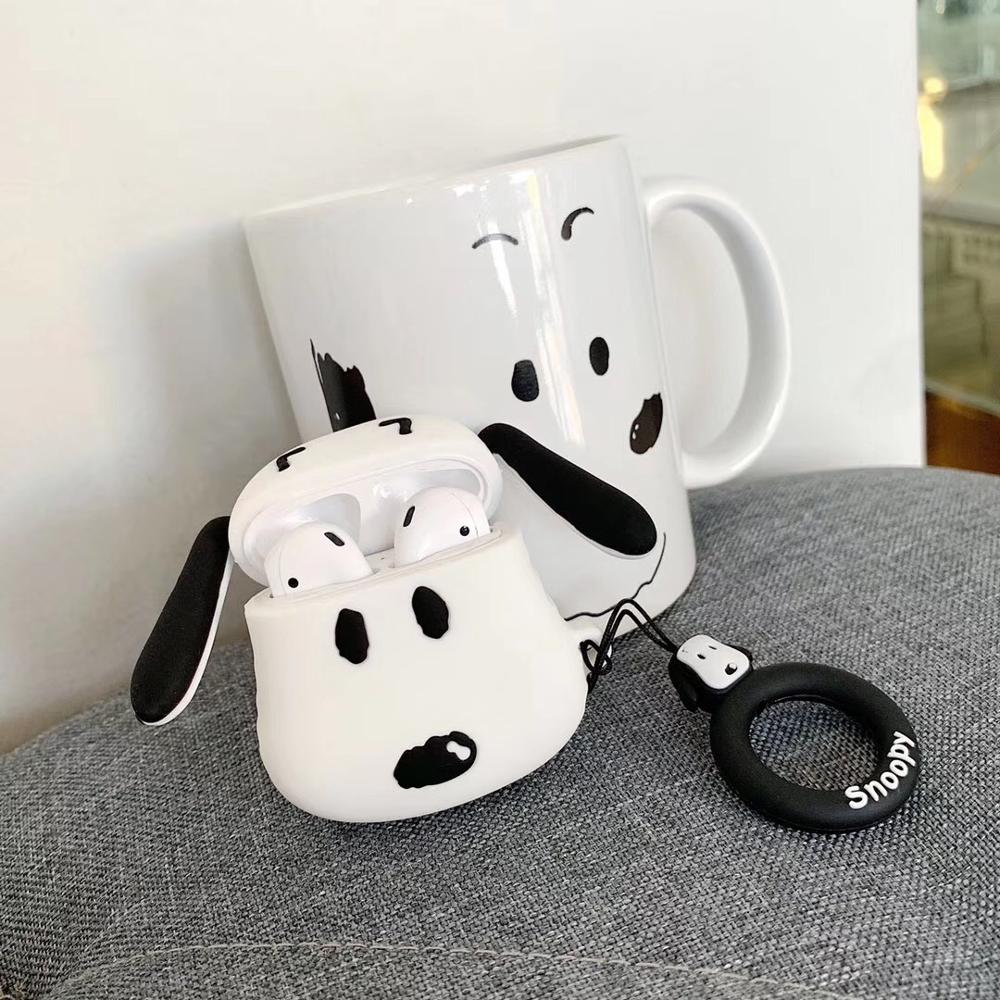 Airpods Wireless Headphone Box Cute Strawberry Bear And Snoopy With Hanging Rope