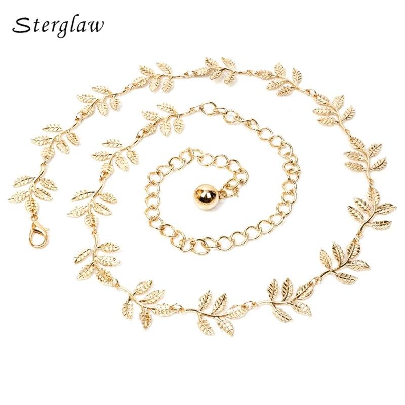 decoration leaf gold dress thin gold waist chain   belts   ladies 2018 luxury Leaves metal fine female   belt   for women Strap J020