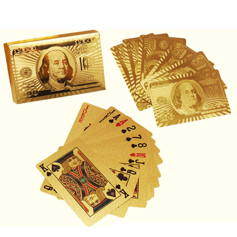 52+2 Playing Card 24K Carat Gold Foil Plated Poker Game Playing Cards Gift Collection