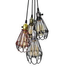 American country wrought iron E27 Pendant Light Retro Creative bird cage Pendant Lamp for Restaurant clothing shop cafe bar(China)