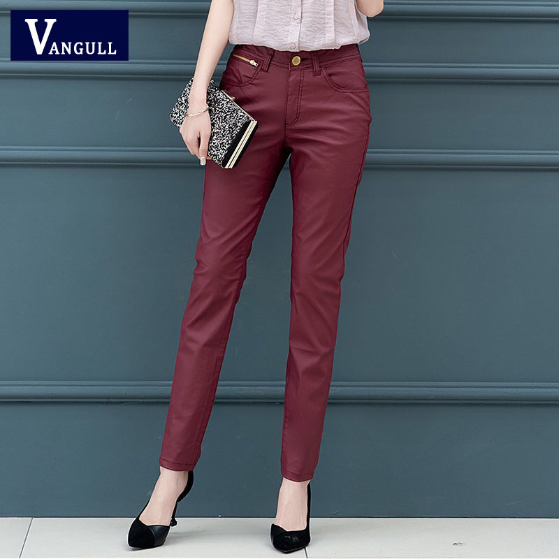 Vangull New Skinny Pu Leather Pants For Women High Waist Slim Faux Leather Trousers Ankle Length Pencil Pants Autumn Wine Red