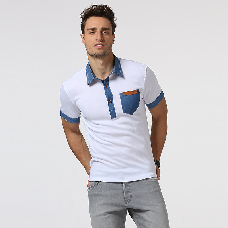 New man pocket spell leather cowboy splicing collar short sleeve polo  shirts leisure tight men s clothes-in Polo from Men s Clothing on  Aliexpress.com ... e329a2228ae0