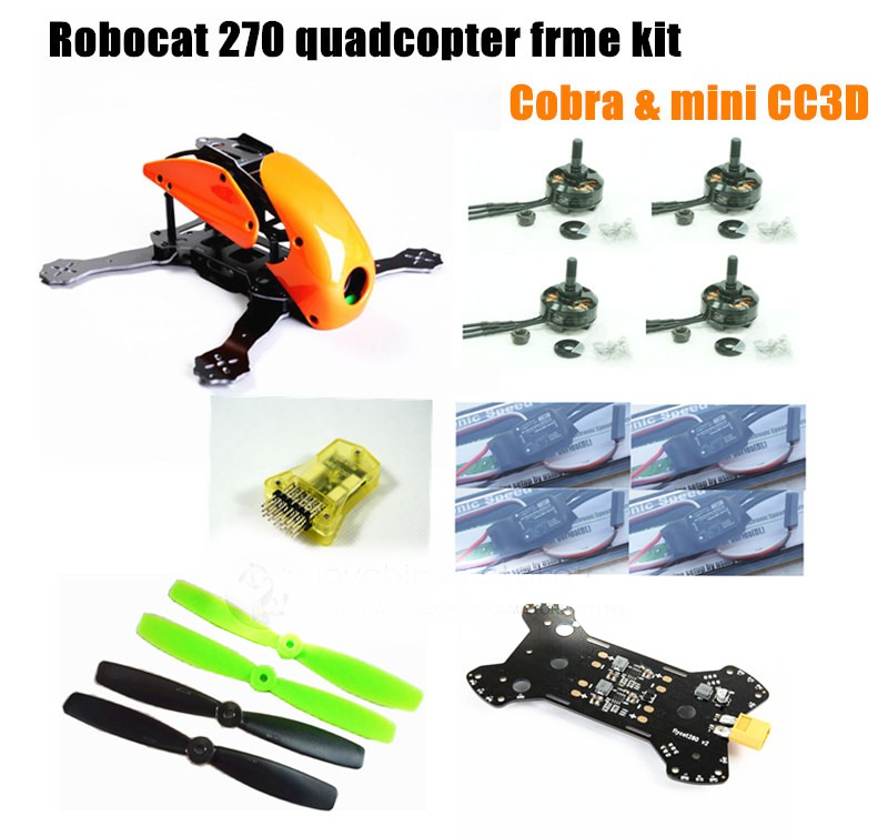 DIY mini drone Robocat 270 V3 quadcopter pure carbon frame kit + cobra 2204 2300KV motor + cobra 12A ESC + CC3D / NAZE32 10DOF diy mini drone qav210 zmr210 fpv race quadcopter pure carbon frame kit cc3d emax 2204ii kv2300 motor bl12a esc run with 4s