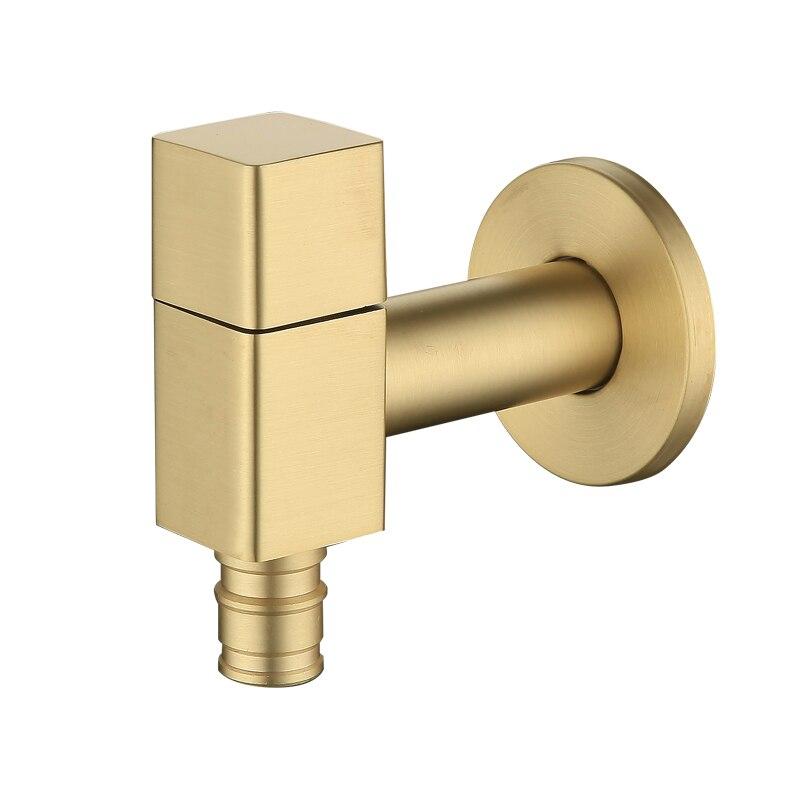 Tout cuivre carré dessin or lave-linge robinet ménage moderne unique eau simple froid 4 split robinet