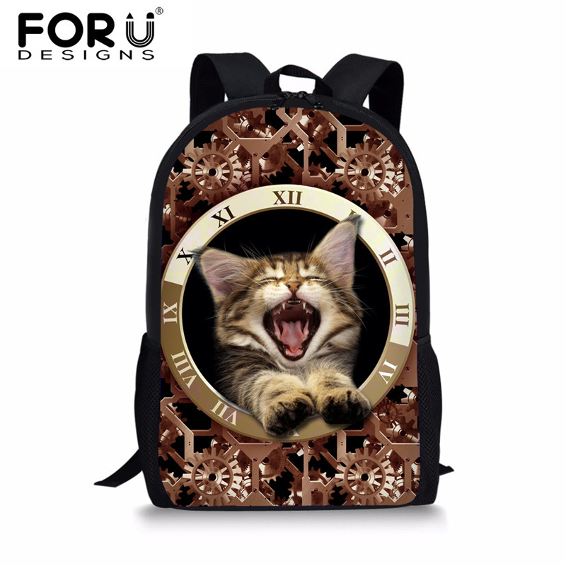 FORUDESIGNS Kawaii Cat School Bags for Girls Boys,Cute Dog Kids Bookbag,Children Print Gearwheel Schoolbag Customized Book Bag