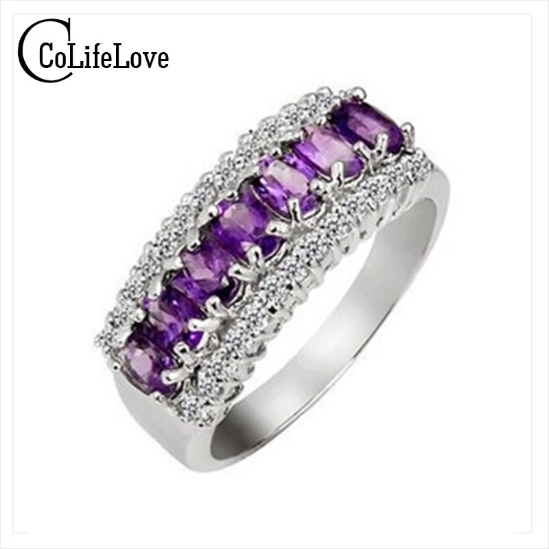 Luxurious amethyst ring 7 pcs 3mm*4mm natural amethyst silver band ring for woman пальто ksenia knyazeva цвет светло серый