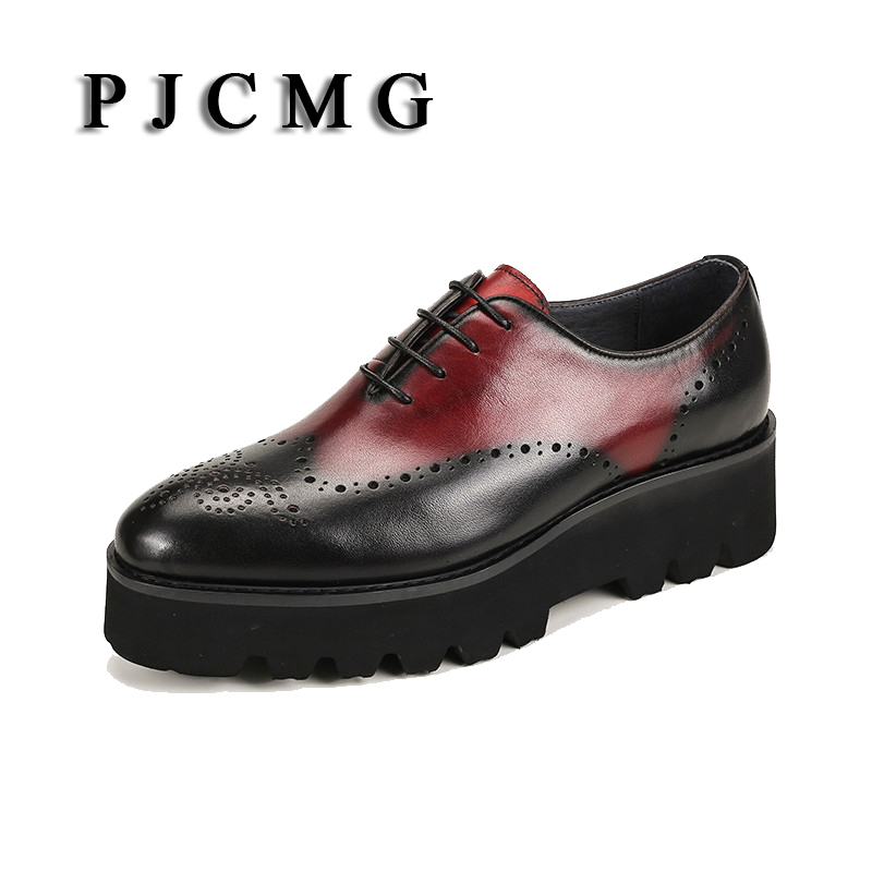 PJCMG New Fashion Lace-Up Pointed Toe Medium Genuine Leather Height Increasing Business Formal Casual Oxfords Shoes For Man
