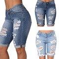 Venta caliente de La Manera Mujeres Media Ripped Jeans de Cintura Alta Agujero Calle Estiramiento Delgado Pantalones Cortos de Mezclilla Desgarrado