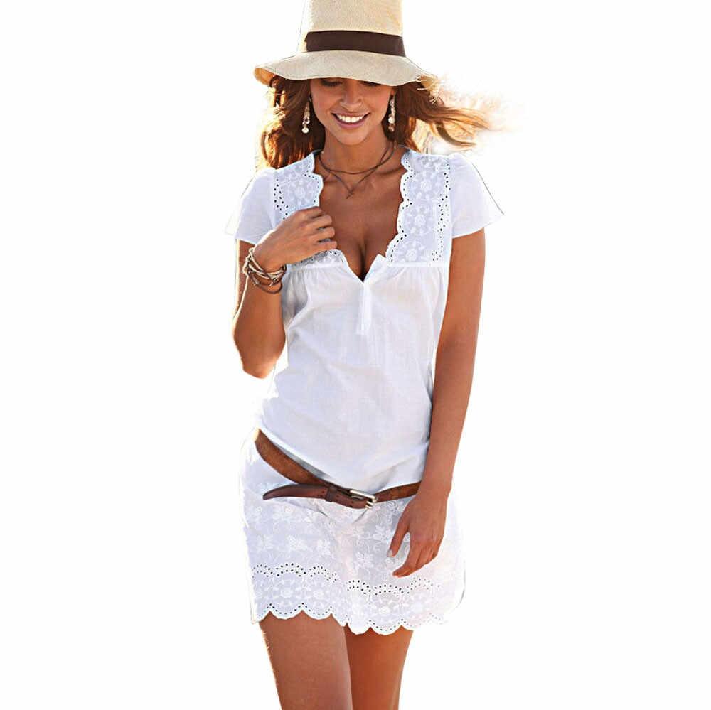 2019 robes d'été décontracté Sexy partie élégante robe col en v à manches courtes dentelle garniture Mini robe blanche vestido