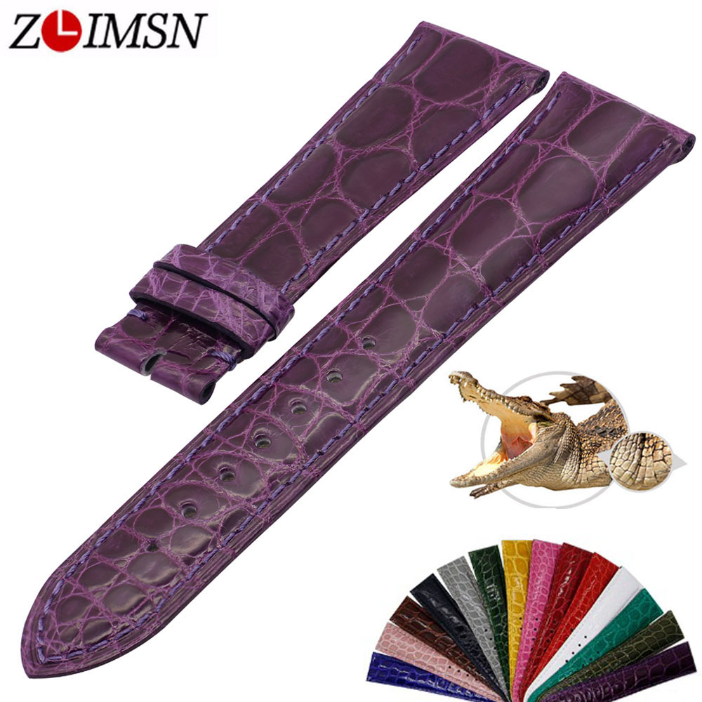 ZLIMSN Simple Fashion Genuine Alligator Strap 15 Colors Round Pattern Comfortable For Men's Women Leather Watch Band 12mm-26mm new authentic watch women special butterflies and flowers pattern comfortable leather strap fashionable and simple watches