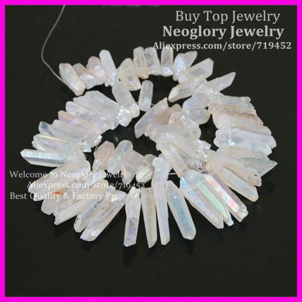 Rough Titanium Clear Quartz Crystal AB Point Spike Beads Natural Raw Druzy Crystal Quartz Stick Drilled Briolettes Pendant