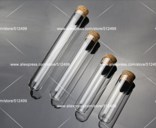 clear 20*120mm glass test tube with cork round bottom