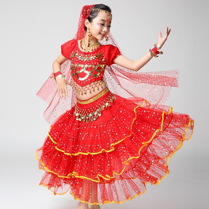 e80891813c30 Qualità Sari Indiano Ragazze Vestito Orientale Enfant Costumi Indiani Per I Bambini  Danza Orientale Costumi di Danza Del Ventre Vestiti Ballerino Set